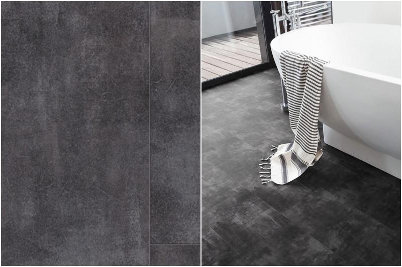 Šeda vinylová podlaha v koupelně.