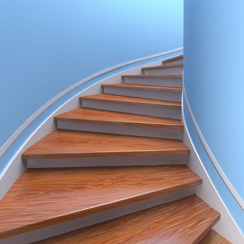 Dřevěný obklad schodiště.