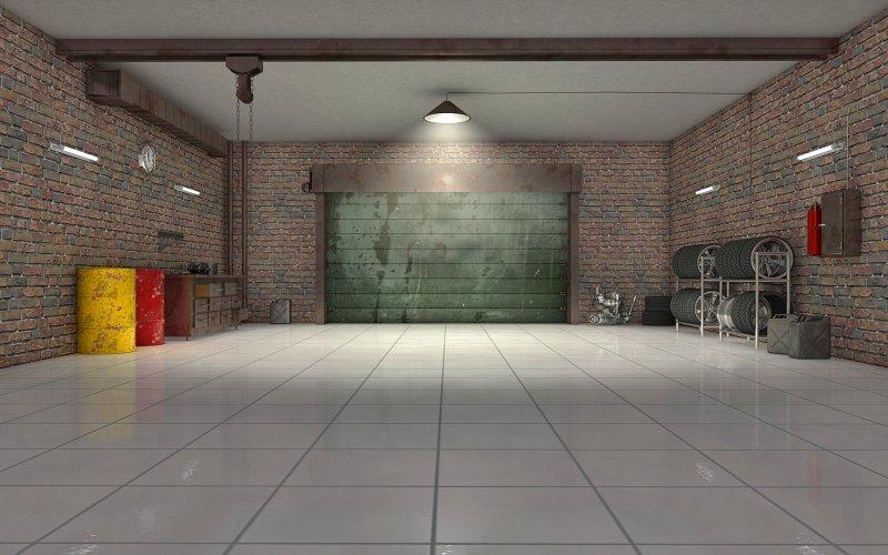 Keramická dlažba v garáži.