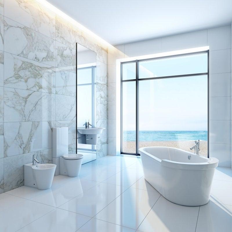 Koupelna v minimalistickém stylu.