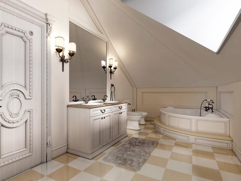 Jemná kostkovaná podlaha v koupelně.