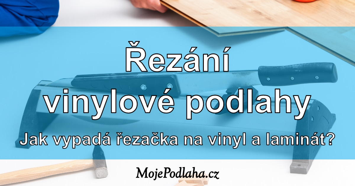 Řezání vinylové podlahy řezačkou.